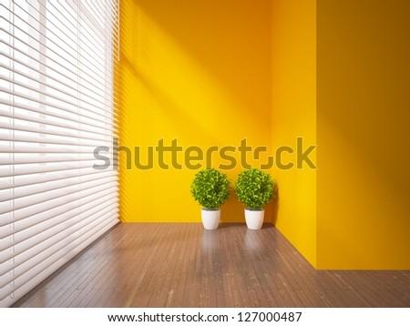 orange empty interior with two plants - stock photo