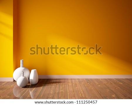 orange empty interior with white vases - stock photo