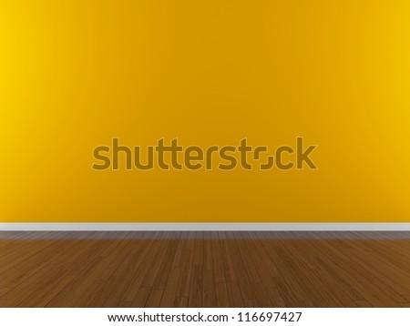 orange empty wall - stock photo