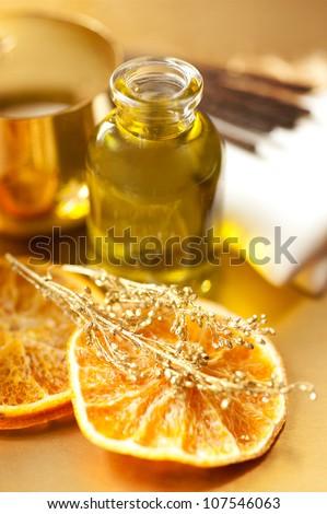 Orange essential oil for aromatherapy - stock photo
