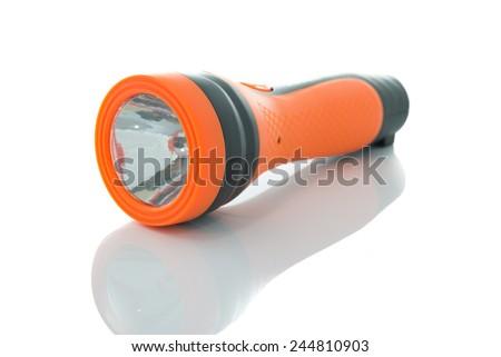 orange Flashlight  Isolated on white background - stock photo