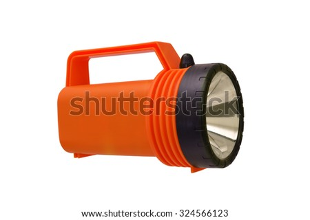 Orange Flashlight isolated on white background - stock photo