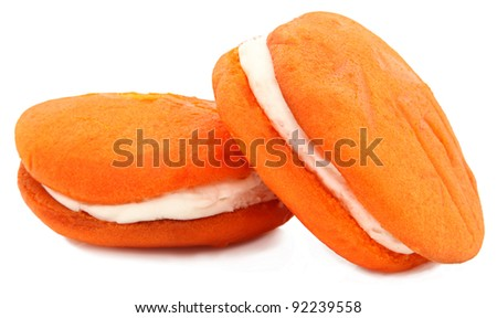 Orange Flavored Whoopie Pie Isolated On White Background - stock photo