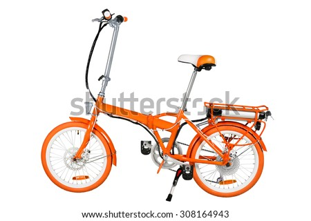 Orange folding electric bike isolated on a white background with a full clipping path - stock photo