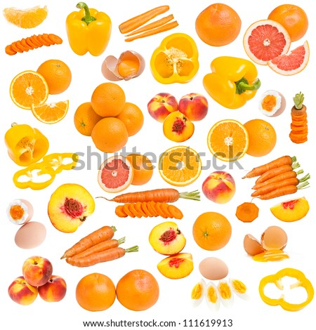Orange food collection isolated on white background - stock photo