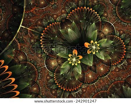 Orange fractal floral heart, digital artwork for creative graphic design - stock photo