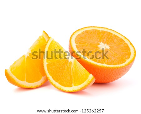 Orange fruit half and two segments or cantles isolated on white background cutout - stock photo