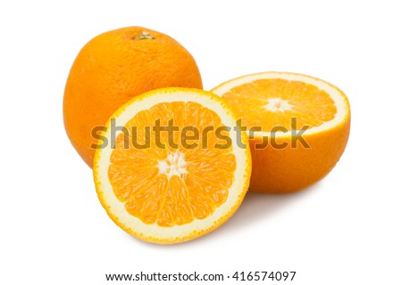 Orange fruit half and two segments or cantles isolated on white background for graphic designers. - stock photo