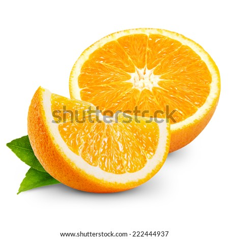 Orange fruit isolated on white background - stock photo