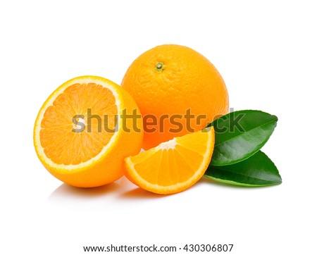 Orange fruit isolated on white background - stock photo
