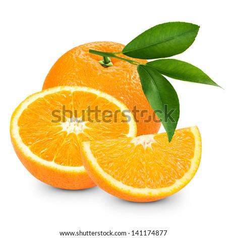 Orange fruit isolated on white background. Clipping Path  - stock photo
