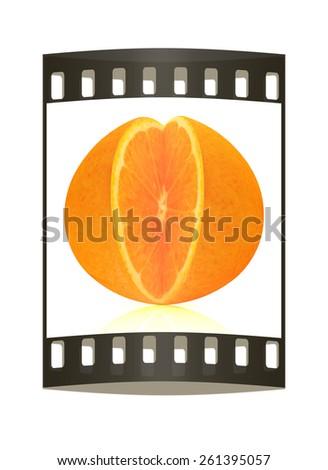 Orange fruit on white background cutout. The film strip - stock photo
