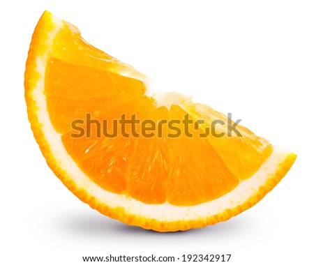 orange fruit slice isolated. Clipping Path - stock photo