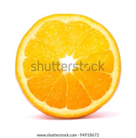Orange fruit slice on white background - stock photo