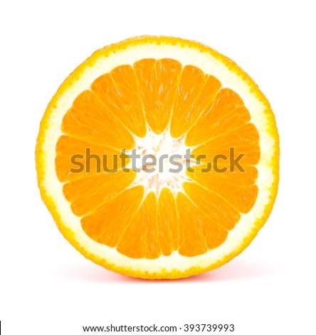 Orange fruit sliced isolated on white background - stock photo
