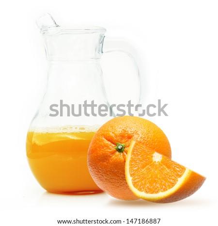 Orange fruit with juice isolated on white background. - stock photo