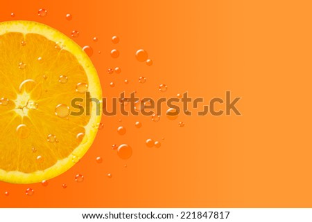 Orange Fruit With Water Drops Background - stock photo