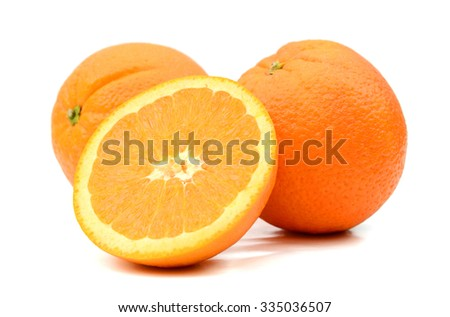 orange fruits on white background  - stock photo
