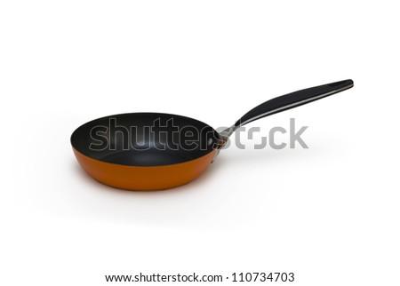 Orange frying pan isolated - stock photo
