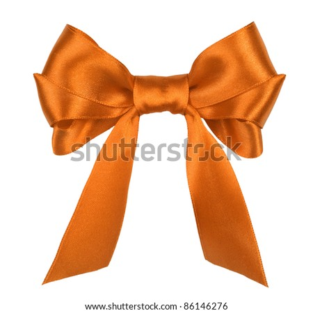 orange gift satin ribbon bow on white background - stock photo