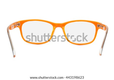Orange glasses isolated on white background with clipping path - stock photo