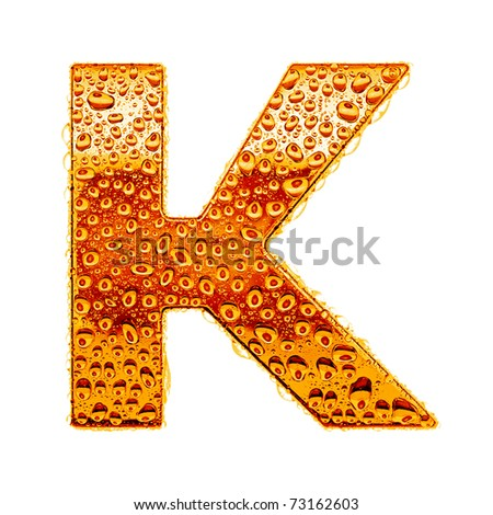 Orange gold alphabet symbol - letter K. Water splashes and drops on glossy metal. Isolated on white - stock photo