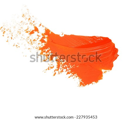 orange grunge brush strokes oil paint isolated on white - stock photo