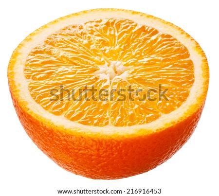 Orange. Half of fruit isolated on white background - stock photo