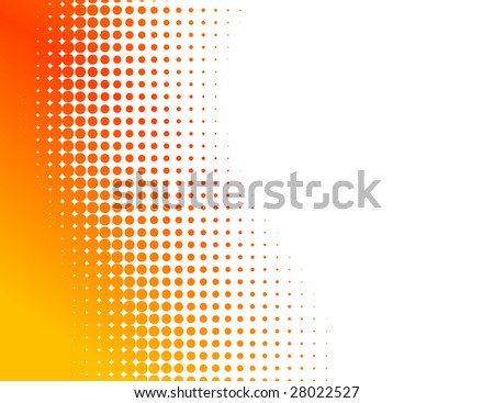 Orange half-tone background.  Raster version. - stock photo