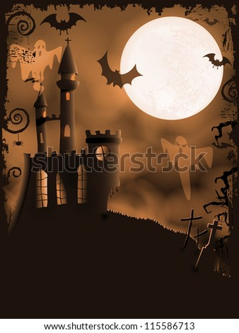 Orange Halloween background with haunted castle, bats, ghosts, full moon and grunge elements - stock photo