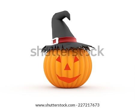 Orange halloween pumpkins rendered isolated - stock photo