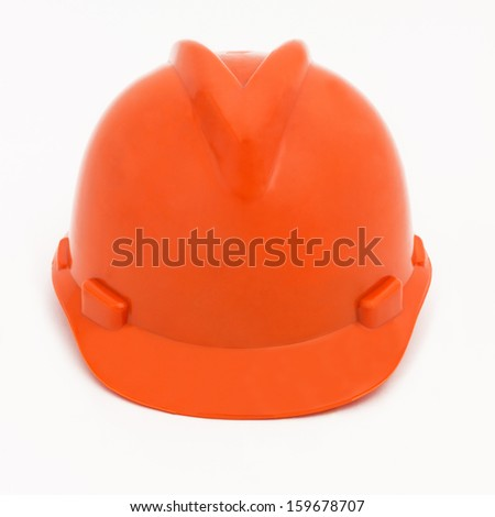 Orange Hardhat, isolated on white  - stock photo