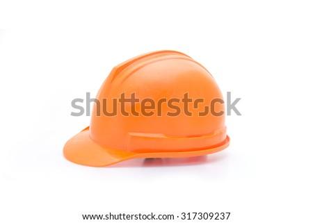 orange helmet for builder worker, isolated on white - stock photo