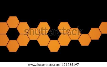 Orange hexagonal background on black - stock photo