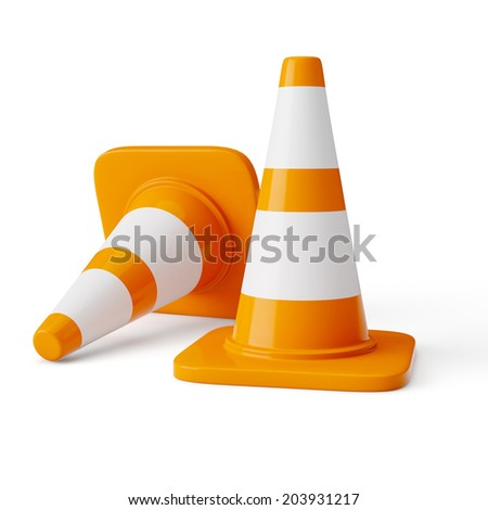 Orange highway traffic construction cones with white stripes isolated on white - stock photo