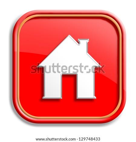 Orange home icon design with isolated on white background - stock photo