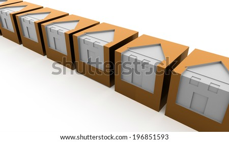 Orange houses business concept rendered - stock photo