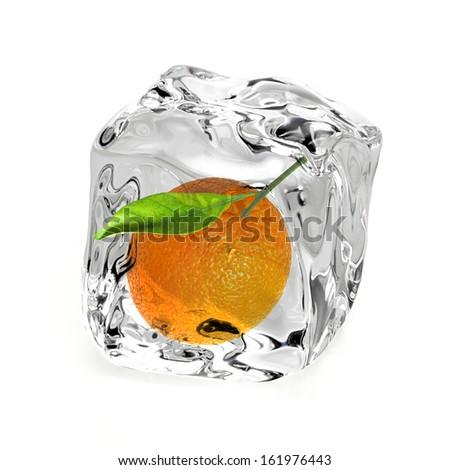 Orange in ice on white background - stock photo