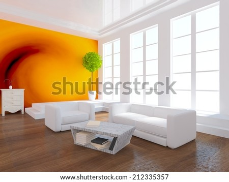 orange interior of a living room with white furniture - stock photo
