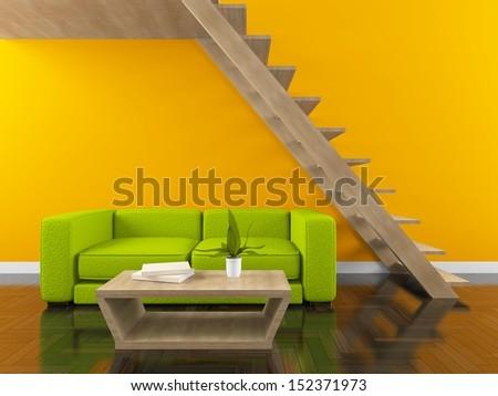 orange interior with stairs  - stock photo
