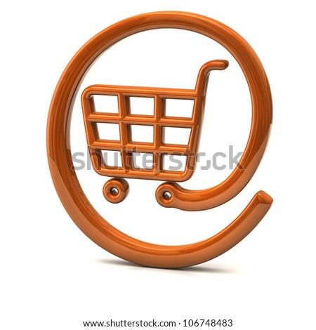 Orange internet on-line shopping icon 3d - stock photo