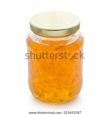 orange jam isolated on white background - stock photo