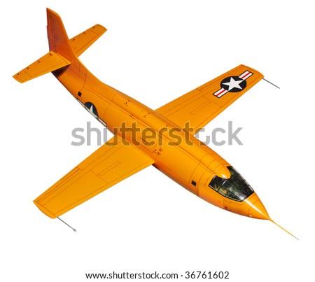 Orange jet. Jet is plastic kit 1:144 scale Homemade work - stock photo