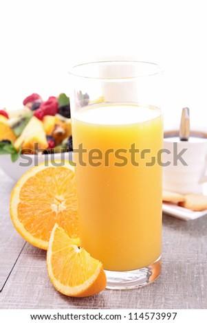 orange juice and fruits - stock photo