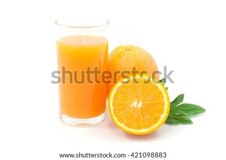 Orange juice and Orange fruit isolated on white background - stock photo