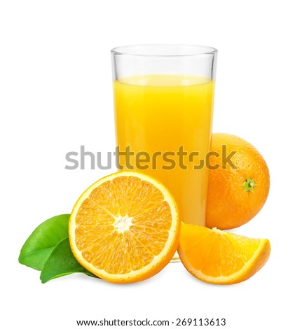 Orange juice and oranges with leaves on a white background - stock photo