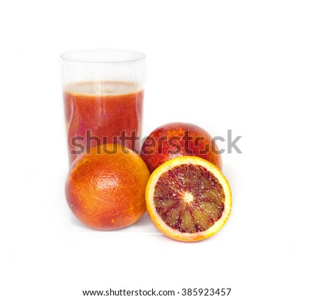 Orange juice and Ripe red oranges isolated on white - stock photo