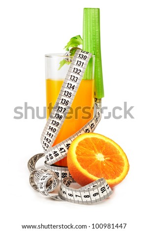 Orange juice celery and measure tape diet concept isolated on white - stock photo