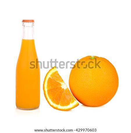 Orange juice glass bottle and oranges. Isolated on white background - stock photo