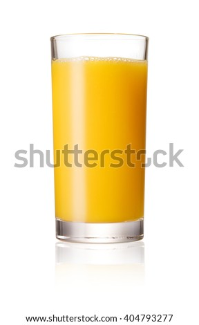 Orange juice glass, isolated on white background - stock photo
